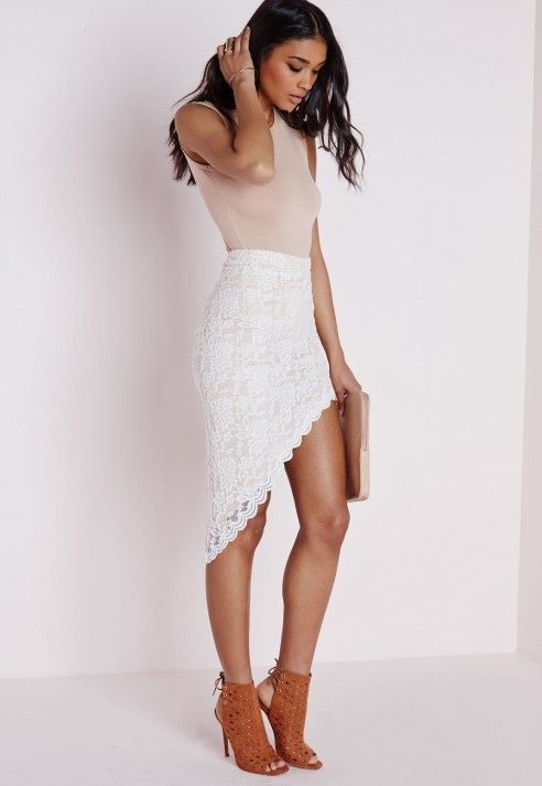 MissGuided Lace Asymmetric Midi Skirt White | SALE originally $44.00 NOW $22.00 | Available Sizes: 8 | #Chic Only #Glamour Always
