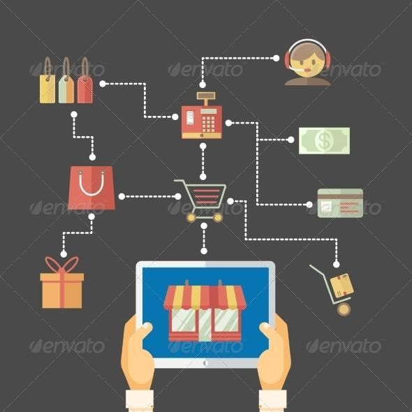 flow chart showing web purchases envato vector vectorgraphics
