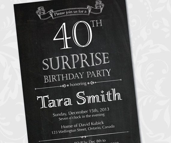40th Surprise Birthday Invitation 30th 40th 50th 60th 70th 80th