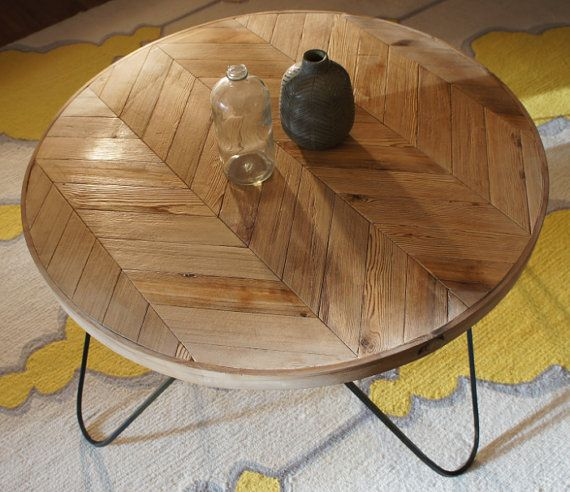 Round Chevron Patterned Coffee Table A Modern Piece Handcrafted