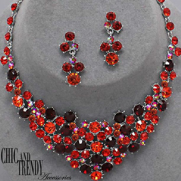 HIGH END PRINCESS RED CHUNKY CRYSTAL WEDDING FORMAL JEWELRY SET CHIC & TRENDY #Unbranded