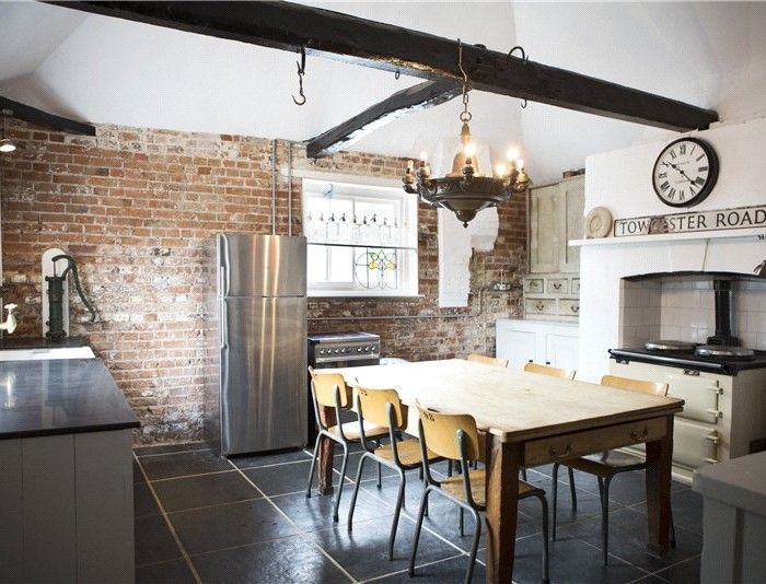 White Kitchen Exposed Brick industrial kitchen, exposed brick, white aga   fabulous kitchens
