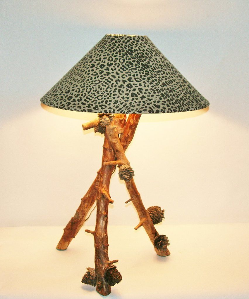 African Table Lamp Leopard Design Suede Goatskin Shade Wood Lamp