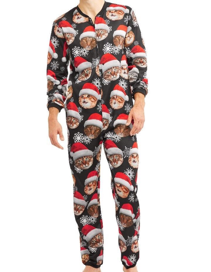santa cat ugly christmas adult union zip up suit pajama pj party mens women ebay