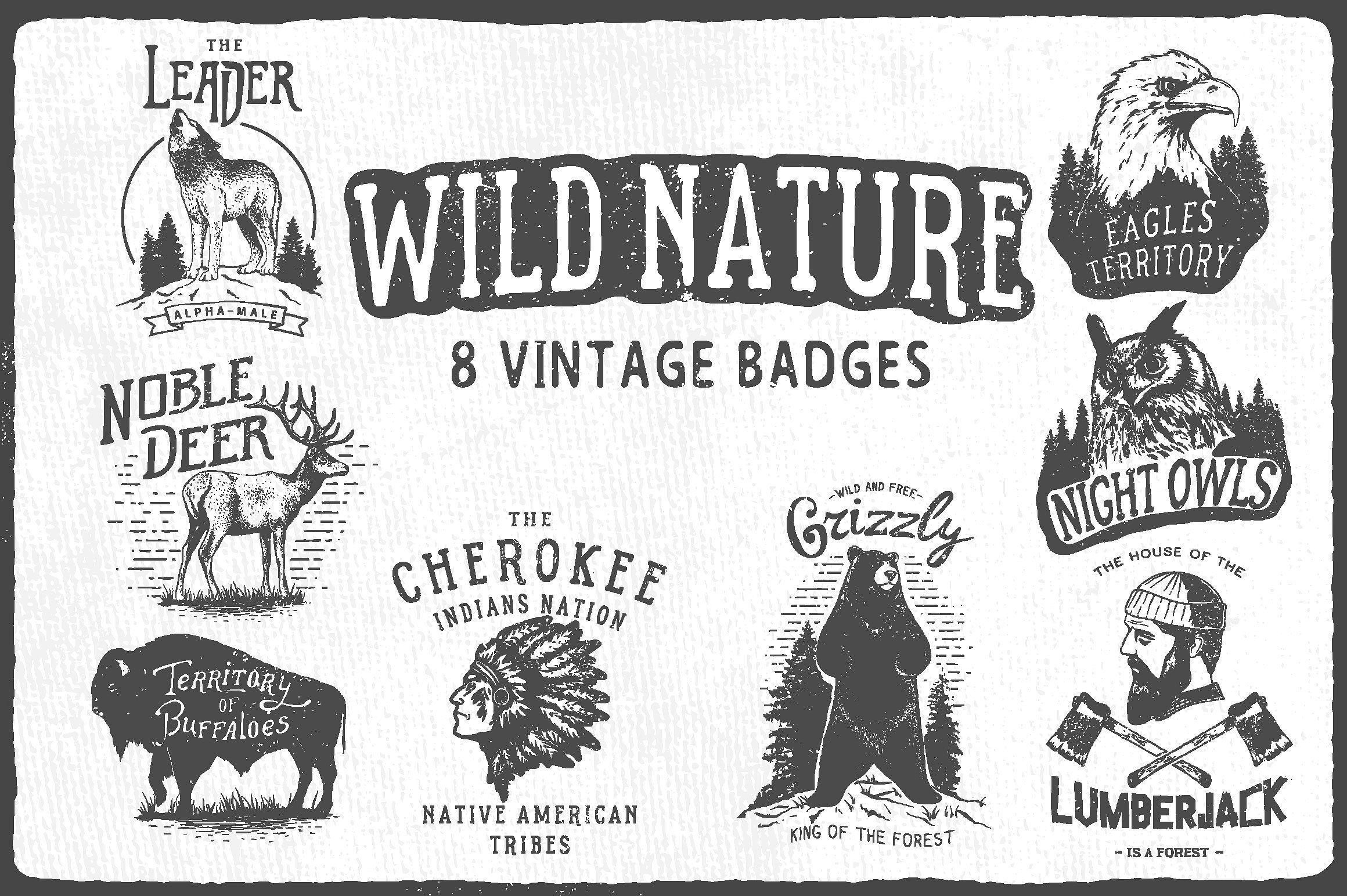 Wild Nature 8 vintage badge logo designs. logo design