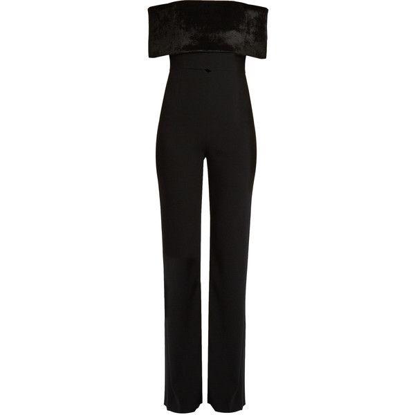 2e9df5d6b76 Galvan Ribbed-velvet off-the-shoulder crepe jumpsuit (2.685 BRL) ❤ · Black  PlaysuitVelvet JumpsuitJumpsuits ...