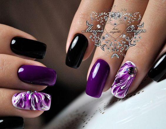 Black and purple nails design idea , LadyStyle