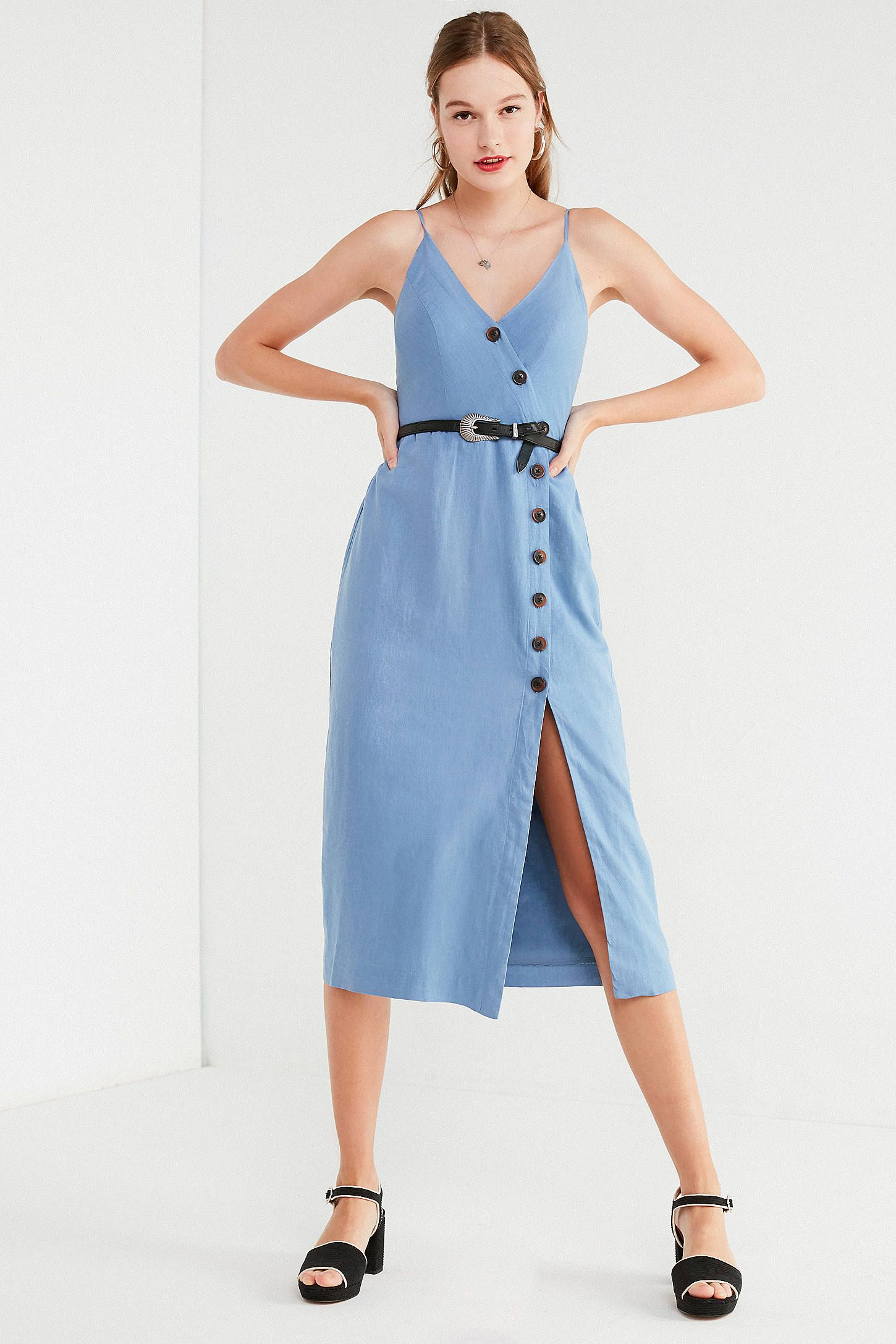 2703a42121c Shop UO Amber Button-Down Linen Midi Dress at Urban Outfitters today. We  carry all the latest styles