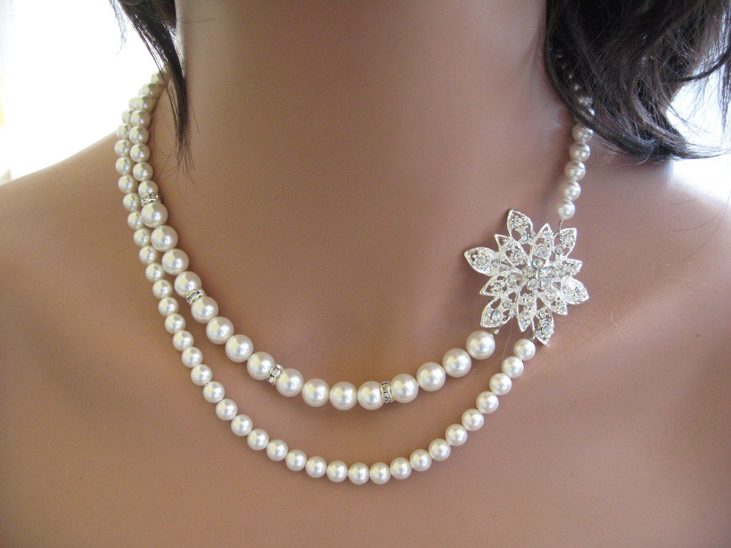 Vintage Inspired Swarovski Pearl And Crystal Bridal Double Strand Pearl  Necklace With Flower Rhinestone Brooch Bridal