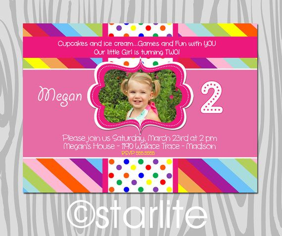 Rainbow Colors and Dots - Photo birthday Invitation - 1st birthday, 2nd birthday, preschool girl - any age - Printable