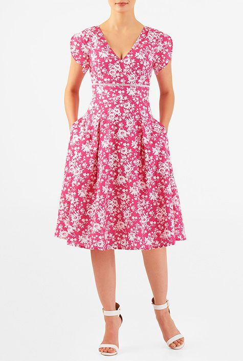I <3 this Rose print cotton banded empire dress from eShakti