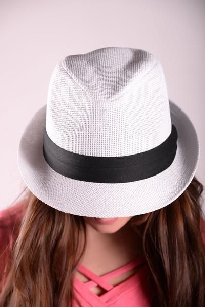 White Fedora Hat With Black Band - HAT425WH  94e8378fe21
