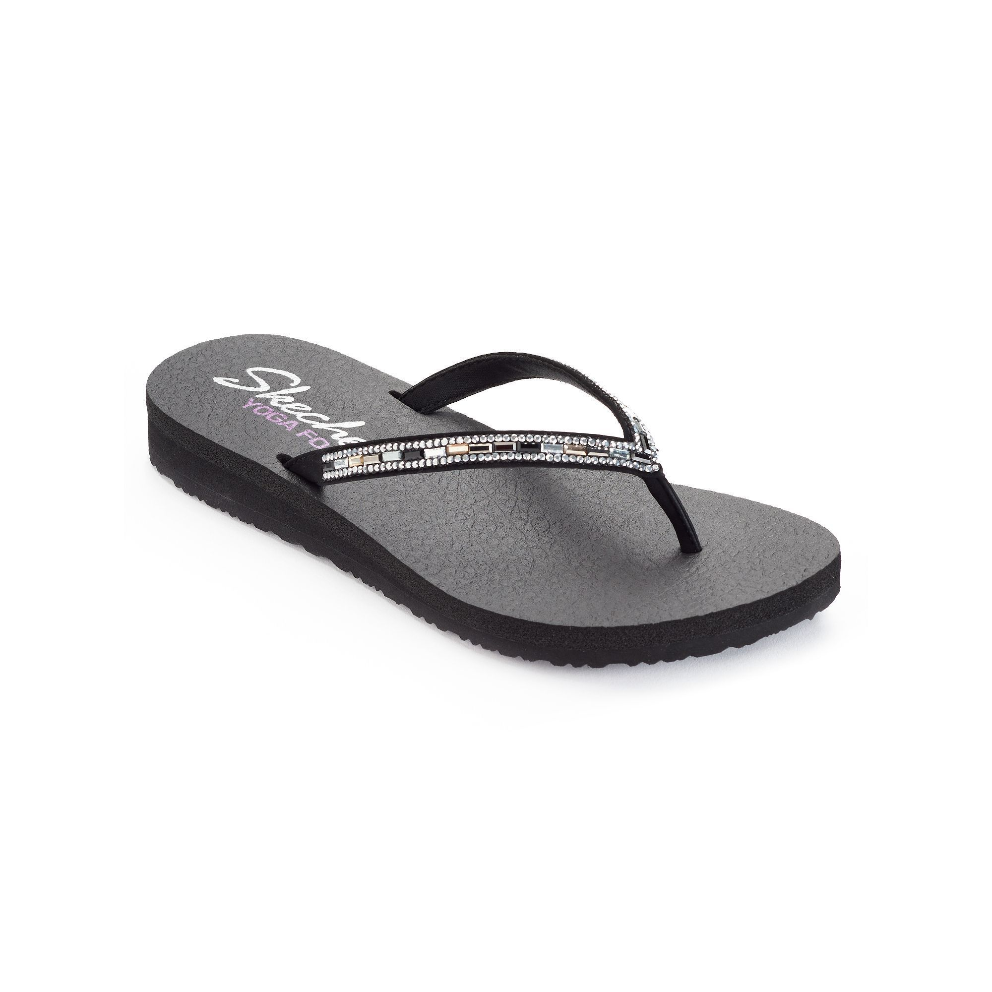 199d0e907dec Skechers Meditation Desert Women s Rhinestone Yoga Mat Wedge Flip-Flops