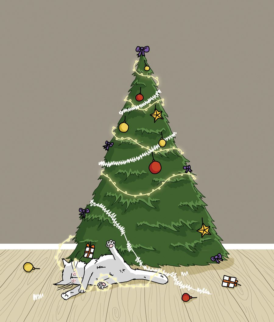 l'arbre à chat de Noël / Cat and christmas tree