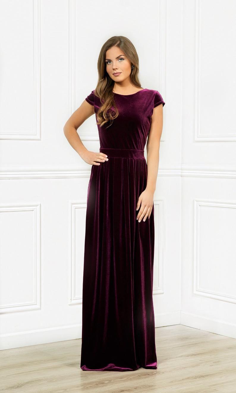 Velvet Maxi Dress Round Neck Deep V Back Cup Sleeves With Pockets Sash Waistband Dark Purple Dress Dresses Dark Purple Dresses Velvet Bridesmaid Dresses [ 1323 x 794 Pixel ]