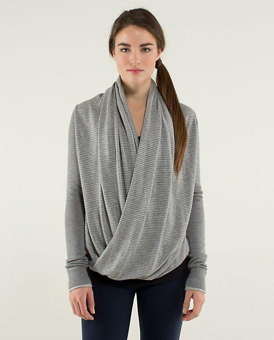 c696b0ae83 Lululemon Iconic Sweater Wrap heathered medium grey heathered light grey  Size 2  128.00 USD Winter 2013