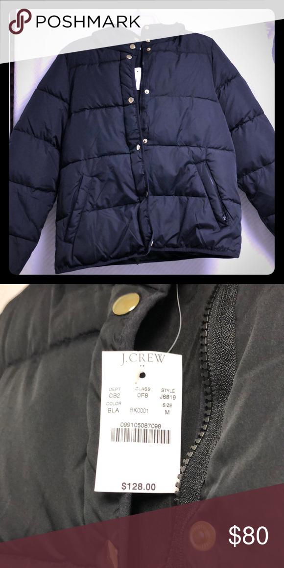 77277e6bc NWT J.CREW Mercantile black puffy short jacket - M Has hood, front ...