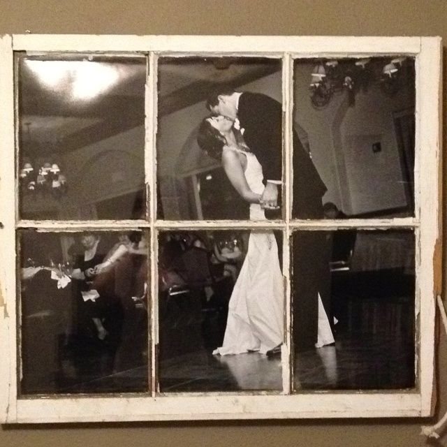 Old wood window repurposed as frame for a wedding photo for Using old windows as picture frames