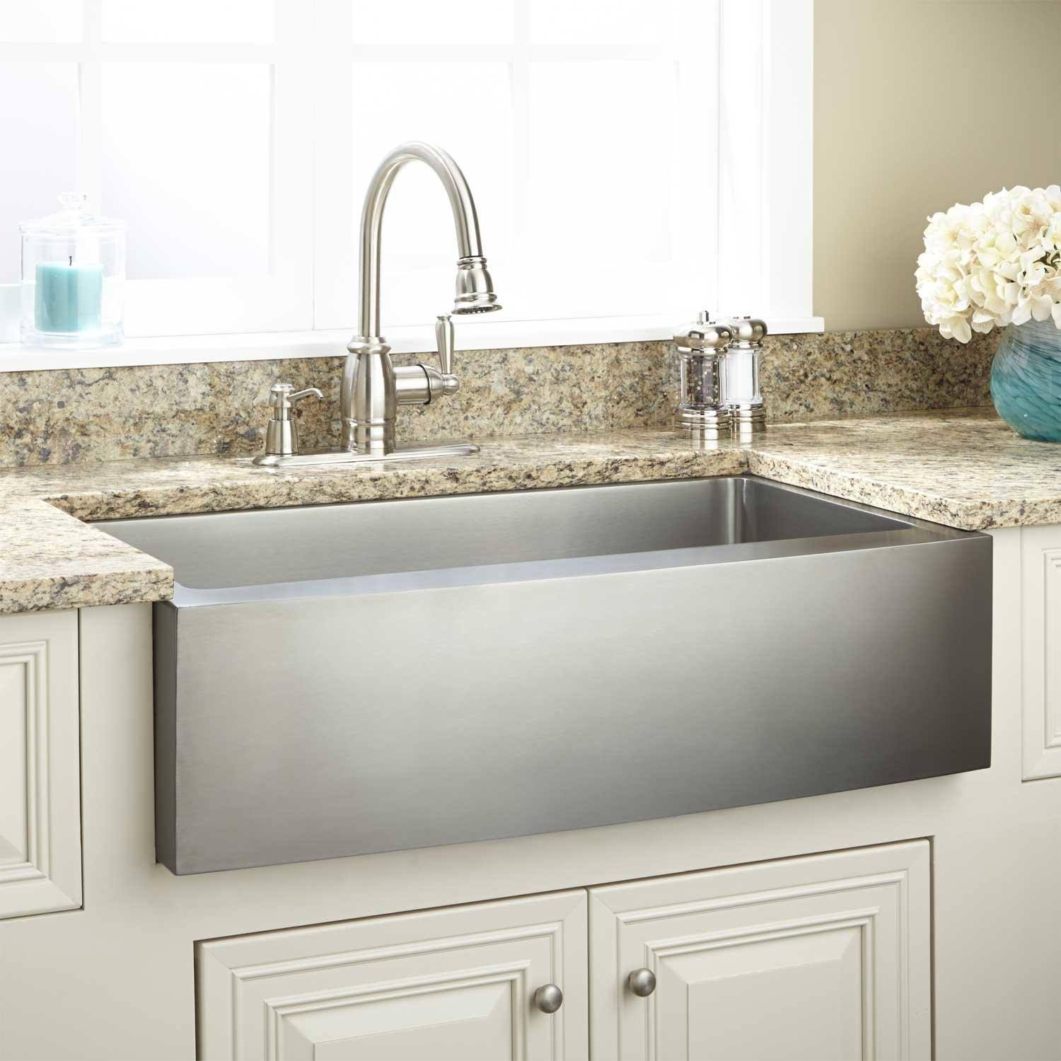 36 Optimum Stainless Steel Farmhouse Sink Curved Front With
