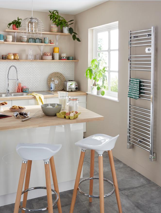 S che serviettes lectrique blyss stara chrome 500w mm - Castorama radiateur salle de bain ...