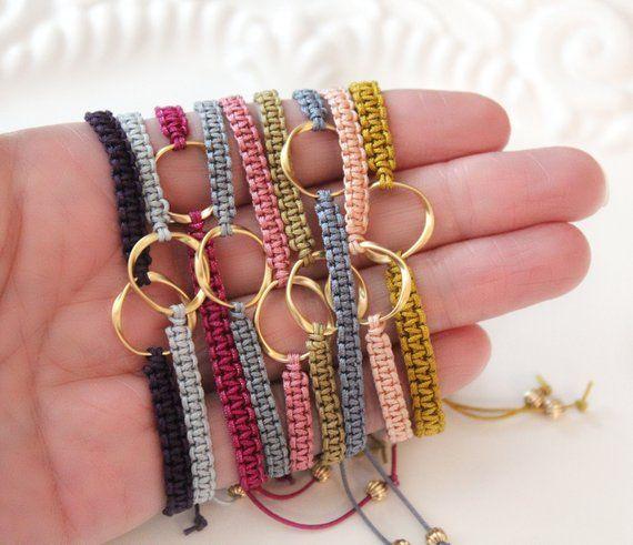 Macrame Bracelet, Karma Bracelet, Friendship Bracelet, Twisted Circle Link, Gold Plated Link, Adjustable Bracelet, Bridesmaid Gift Idea #jewelry