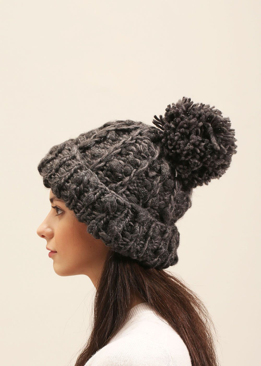 100dbd51e5741e lookbym - Sparkly Popocorn Pompom Hat Charcoal | 2017 FW HATS | Hats ...