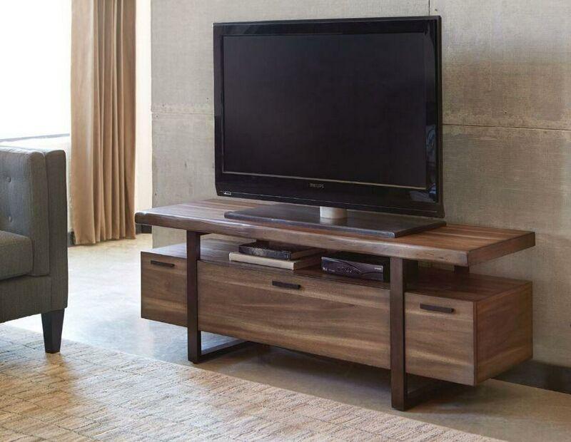 701055 Atticus Hazelnut Finish Wood Mid Century Modern Style Tv
