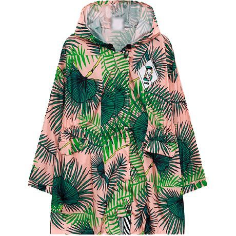 """PINK LEAVES PRINT HOODED RAIN COAT Use coupon """"ITPIN"""""""