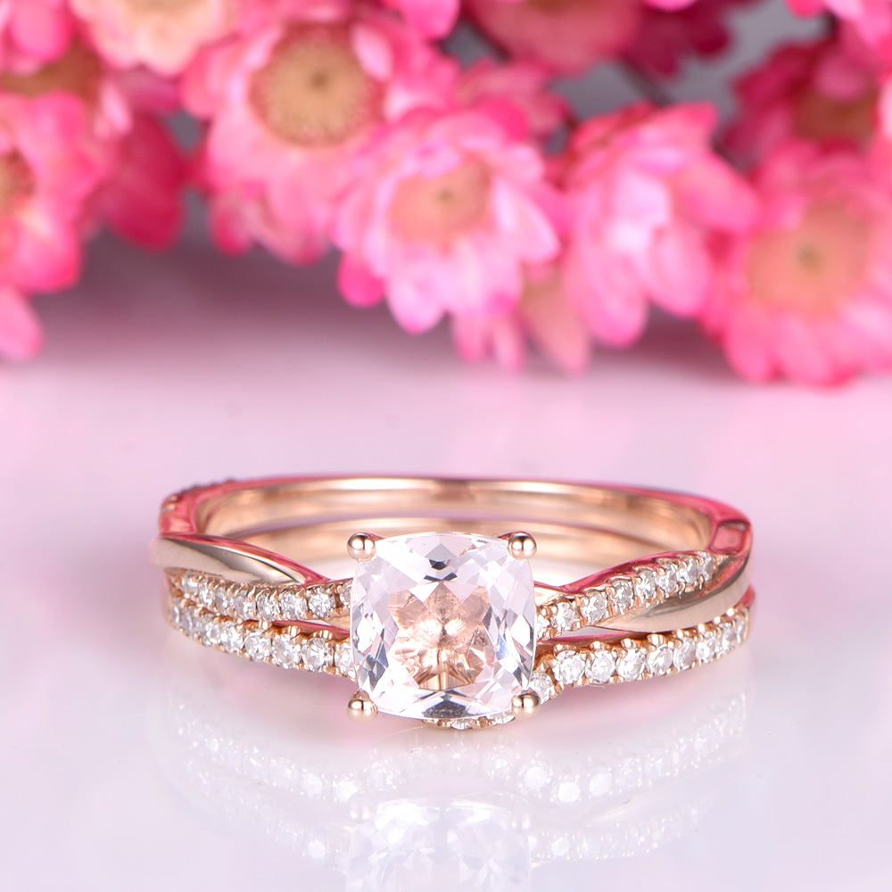 Morganite engagement ring set 6mm cushion cut pink morganite with ...