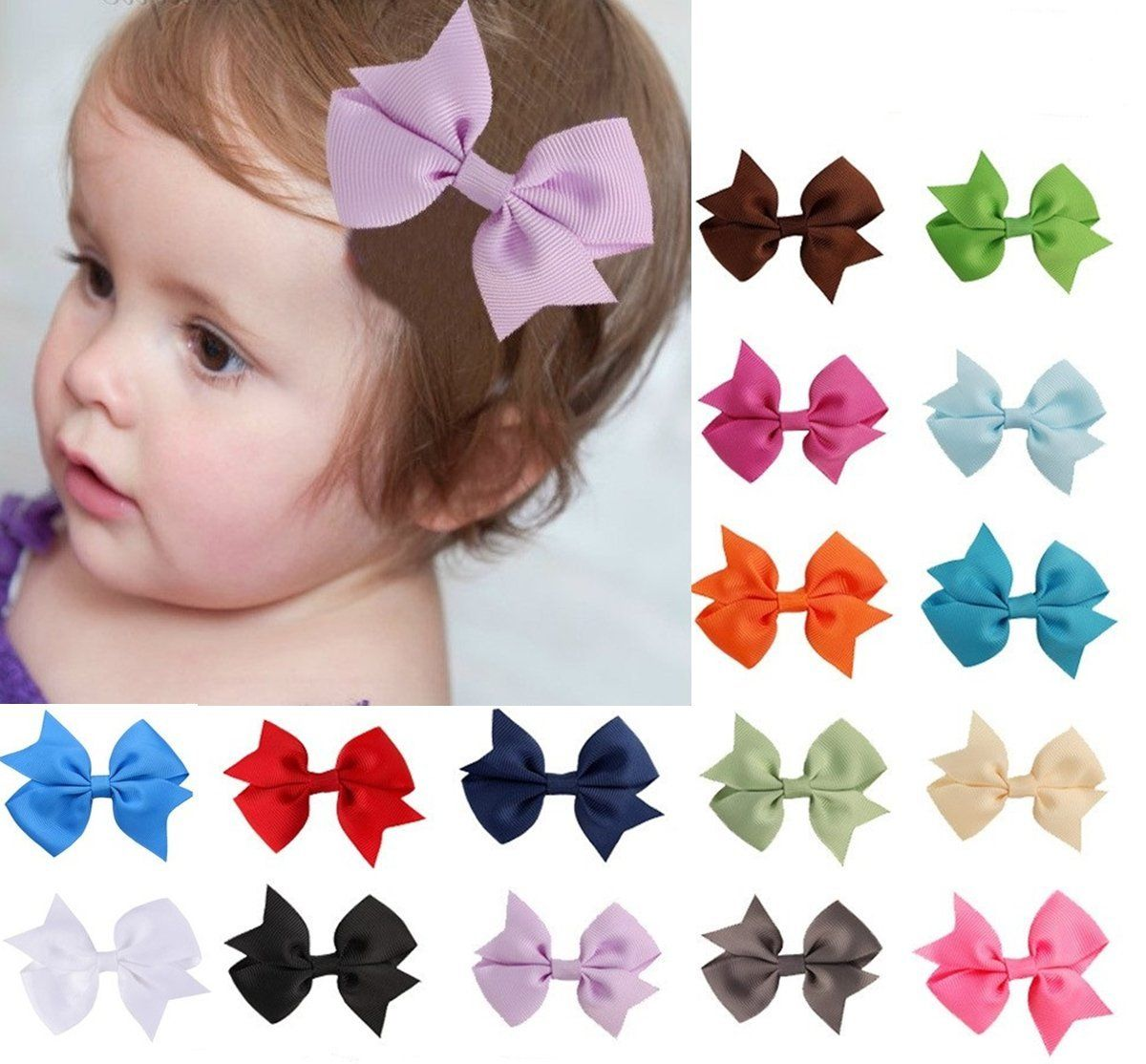 V-noah 16pcs Grosgrain Ribbon Hair Bows Hair Clips Pins for Girls Women Random Color *** Check this awesome product by going to the link at the image.