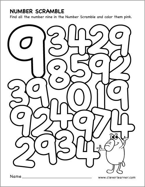 Scrambled Numbers Coloring Worksheet Numbers Preschool Math Activities Preschool Learning Numbers