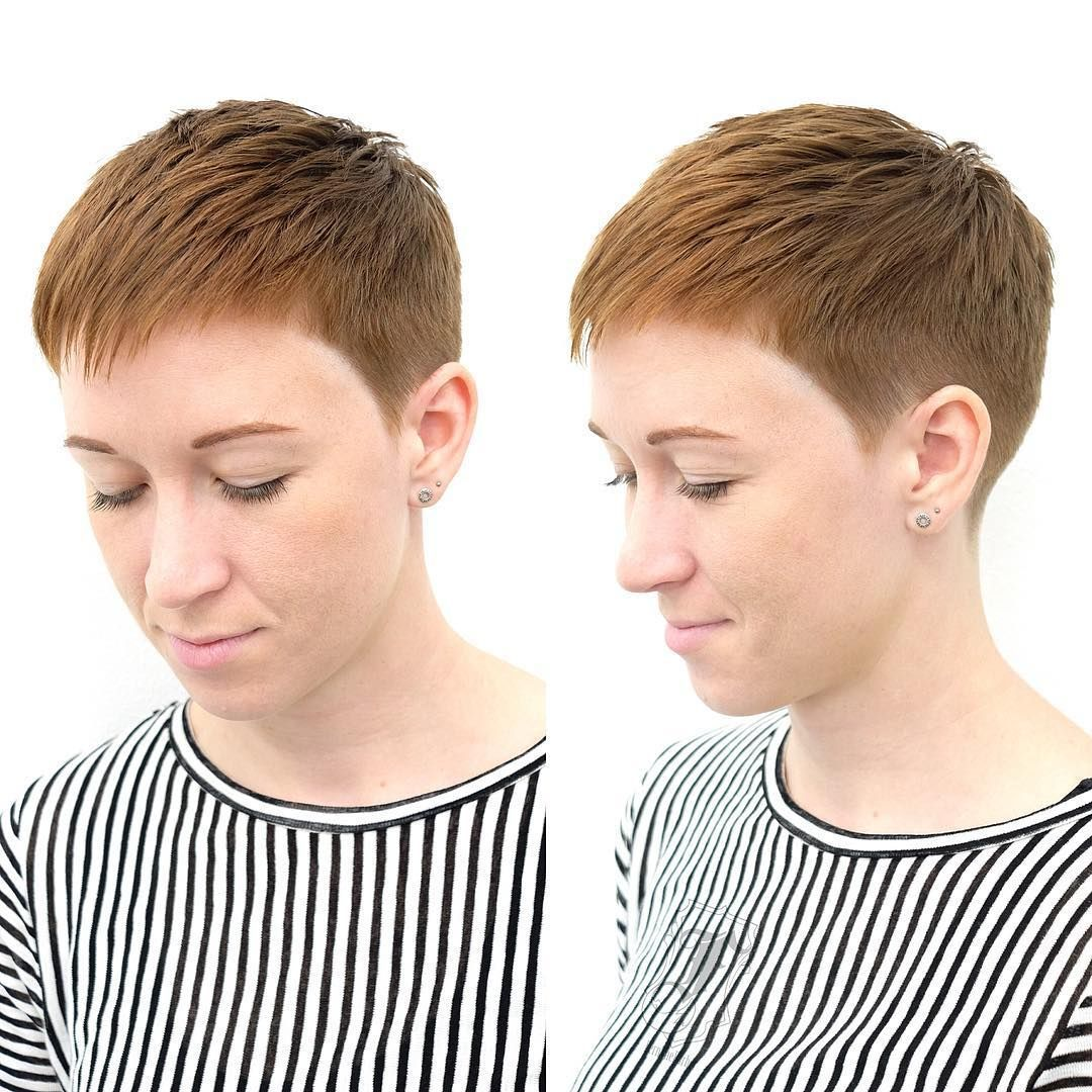 This copper textured and tapered pixie cut is a versatile cut and