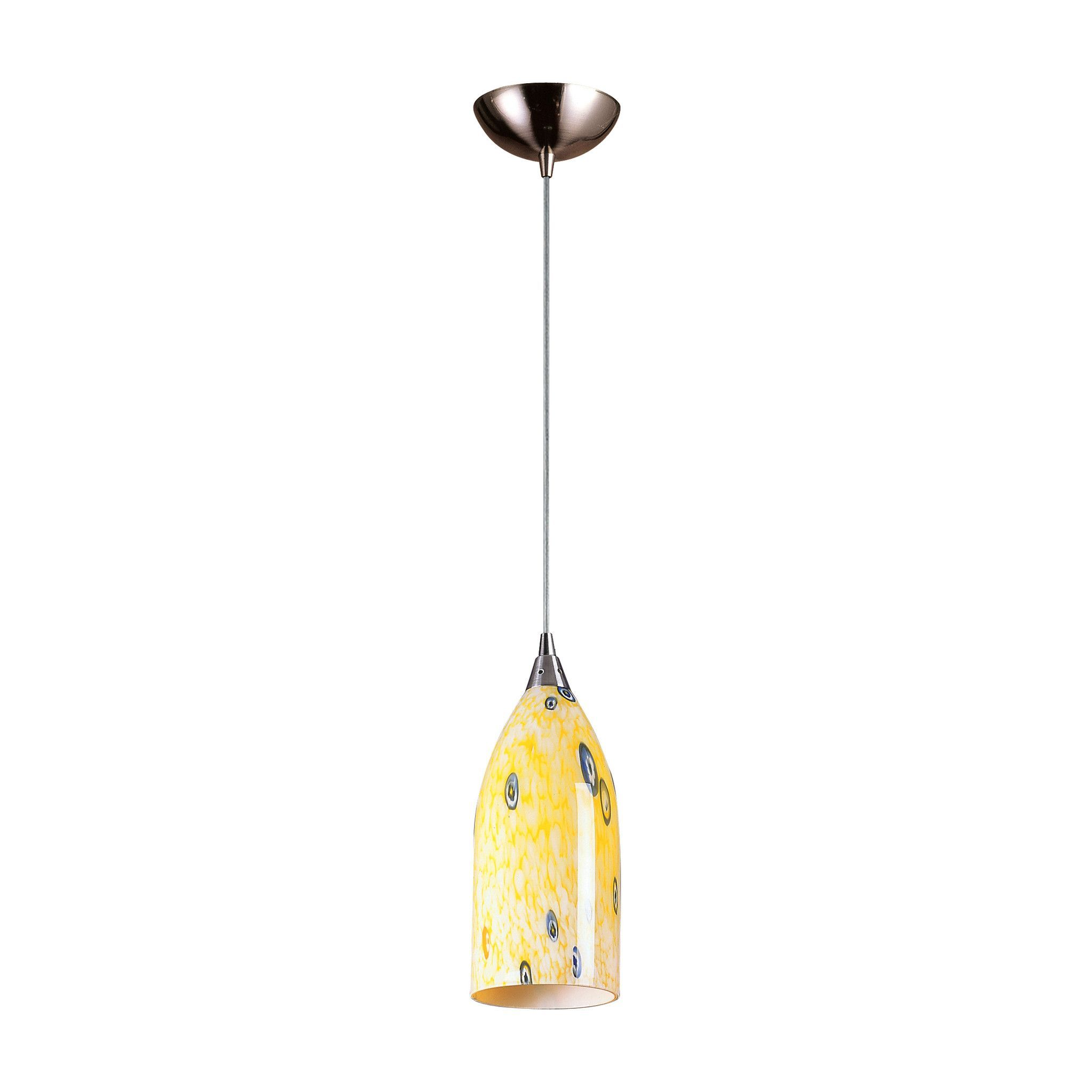 Elk light pendant in satin nickel and yellow blaze glass yw