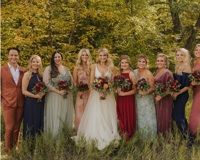 Real Bride Laura Cam Fall Bridesmaid Dresses Mix Match Bridesmaids Dresses Mixed Bridesmaid Dresses