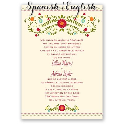 Blusa bordada spanishenglish wedding invitation i print your blusa bordada spanishenglish wedding invitation i print your wording in english on the front stopboris Images