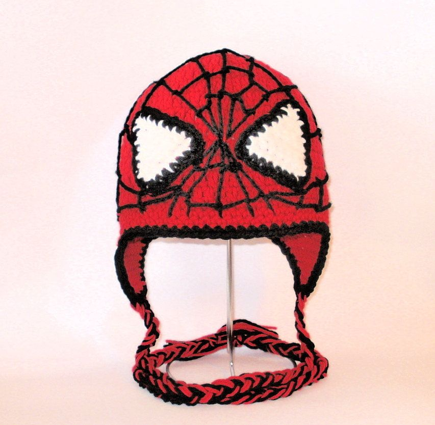 Crochet Pattern Pdf Spiderman Hat Beanie And Earflap All Sizes