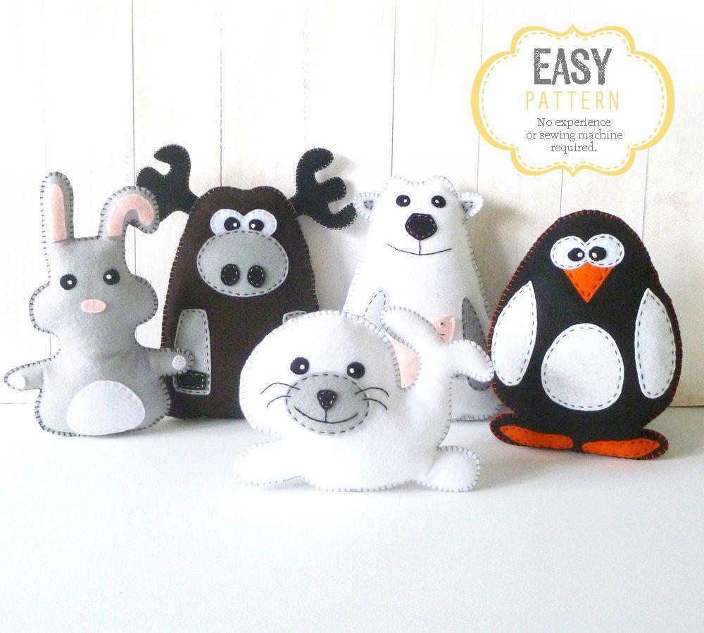 Stuffed Animal Sewing Patterns, Polar Animals, Arctic Animals, Plush ...