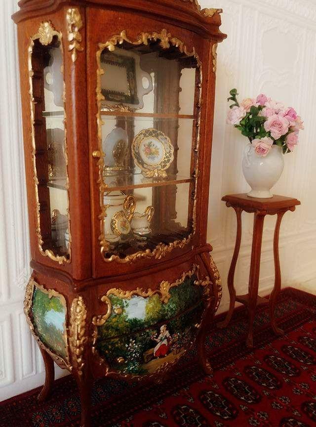 Escala 1//12 casa de muñecas en miniatura muebles Armario vitrina de tienda conjunto pintado a mano