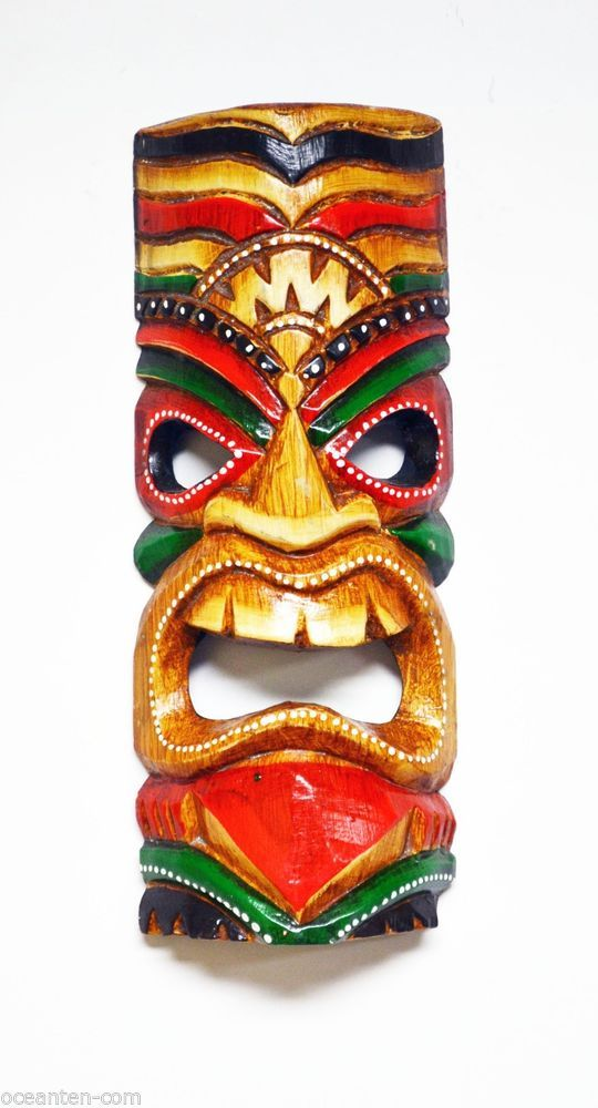 hawaiian tiki gods chanting god small tiki mask 11 hawaiian tribal hut wooden tiki. Black Bedroom Furniture Sets. Home Design Ideas