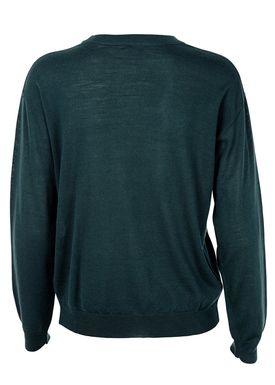 Filippa K - Strik - Merino R-neck Pullover - Mørkegrøn