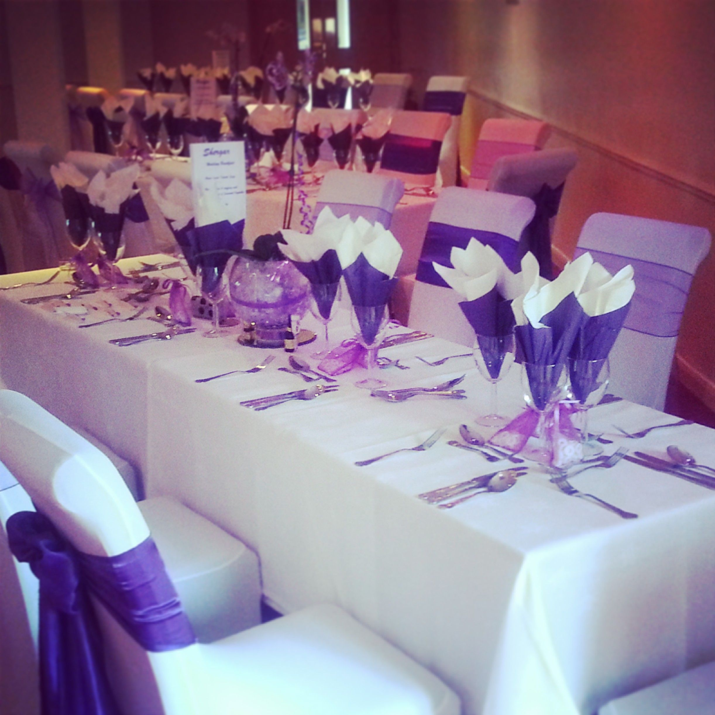 Purple Themed Wedding Decorations : Purple themed wedding table set up at croyde bay