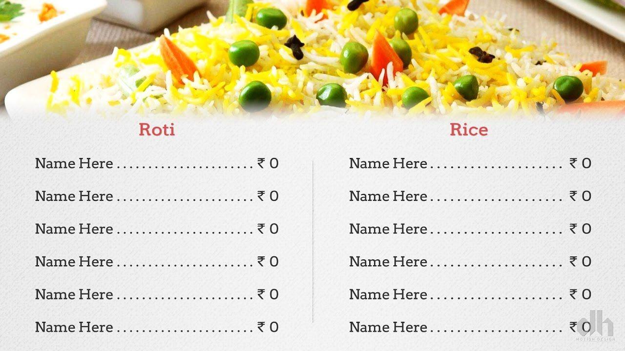 Restaurants/food Menu Design video display template Motion Graphics ...