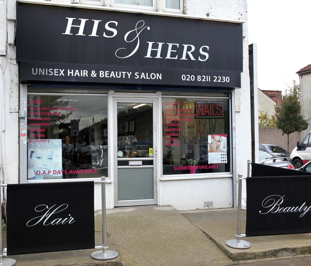 Outside his hers hair and beauty salon one of few really good hairdressers in n9 they also have solarium nail treatments and beauty treatments