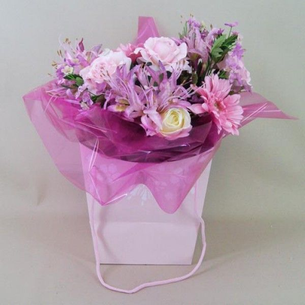 Raspberry-Delice-Artificial-Flowers-Bouquet-with-Glass-Vase-ABV012 ...
