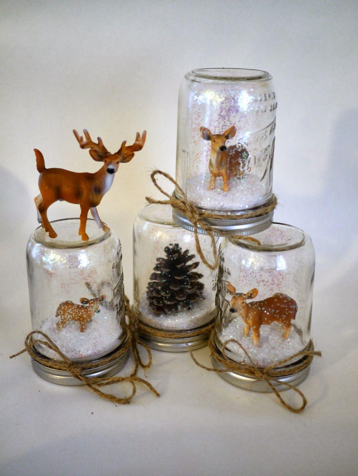 baby deer snow shakers make Christmas snow globes diy