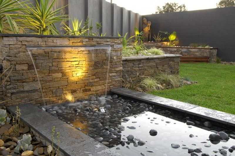 House, Contemporary Water Garden Design For Modern Outdoor Patio