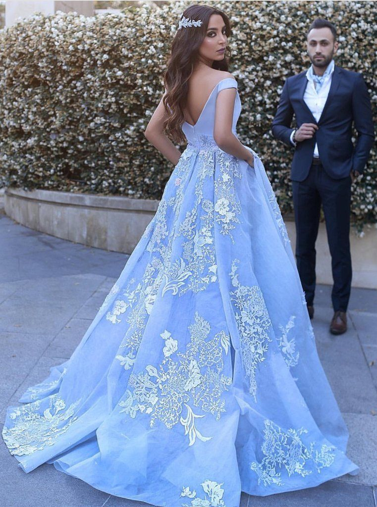 d87b4a8a0ab61e Gorgeous Light Blue Off The Shoulder Ball Gown Prom Dress,Wedding Dress,Formal  Gown With Lace Appliques