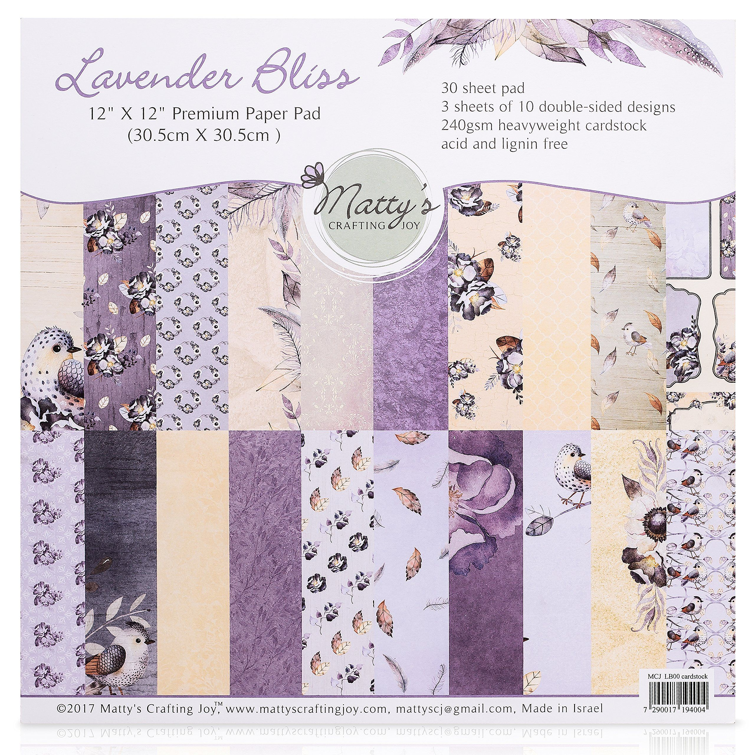 Matty S Crafting Joy Lavender Bliss 12x12 Double Sided Scrapbook Cardstock Paper Pad 30 Floral Designer Premi Scrapbook Cardstock Paper Pads Cardstock Paper
