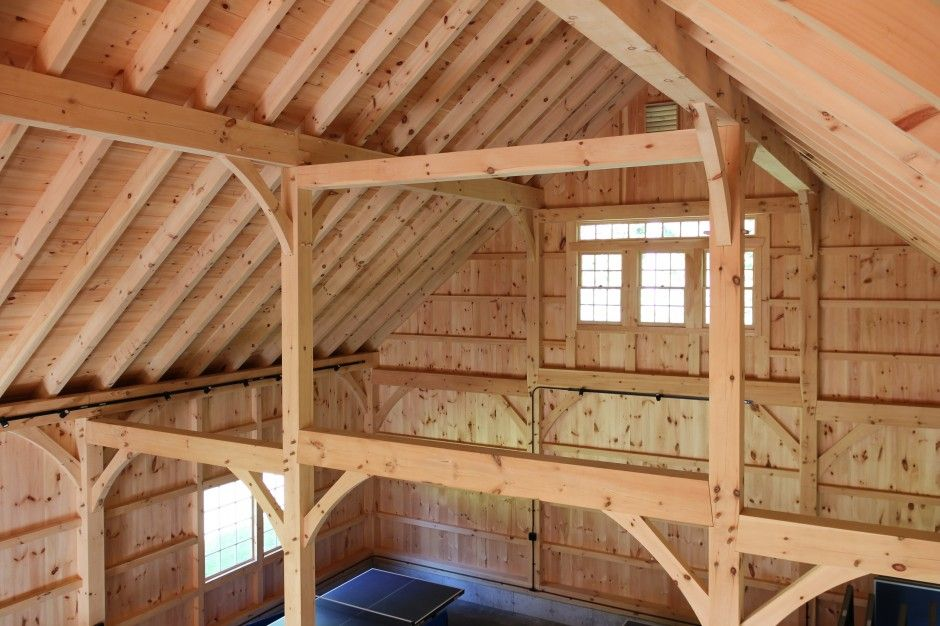Floor To Ceiling Posts In Post Beam Barn Supporting The Mid Span Of The Rafters Cathedral Ceiling Pool Houses American Barn Timber Framing