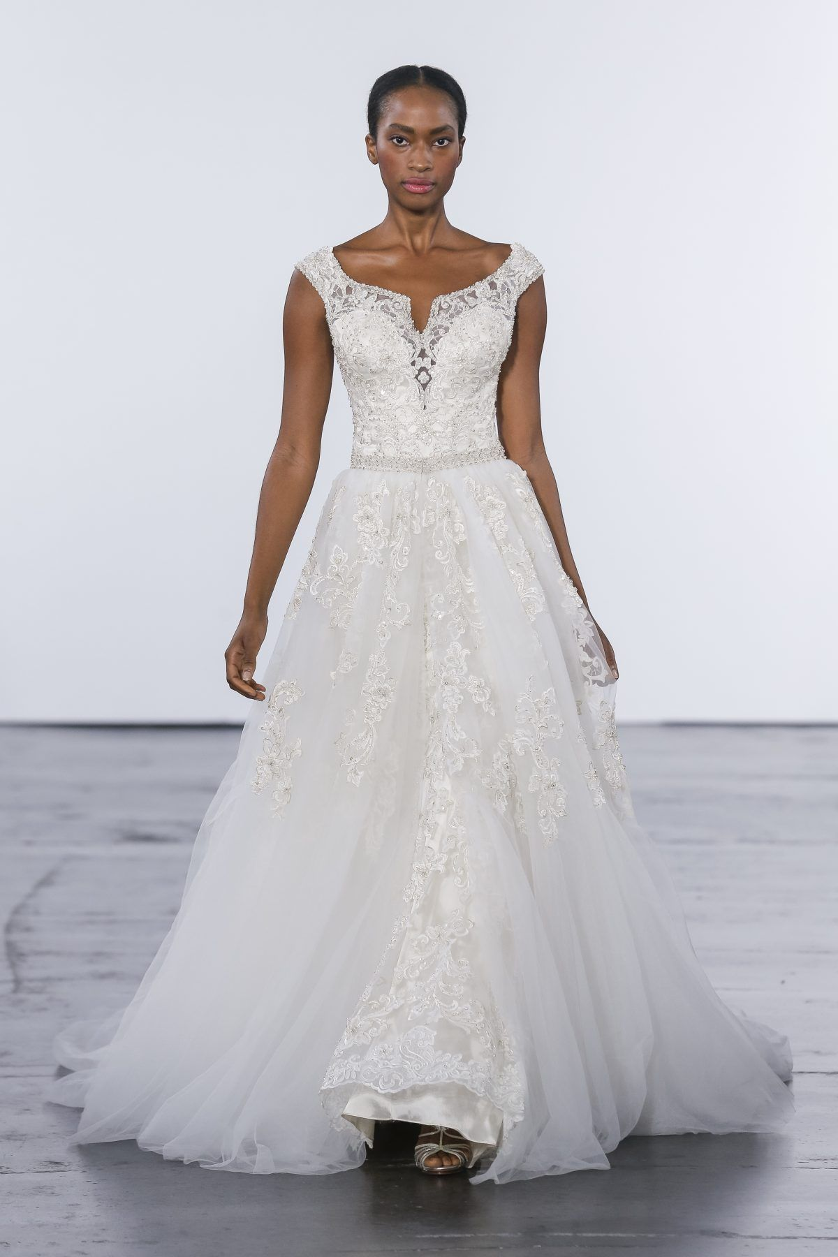 Off The Shoulder Beaded And Embroidered Lace Fit And Flare With Detachable S Fit And Flare Wedding Dress Wedding Dresses Photos Vintage Wedding Dress Designers